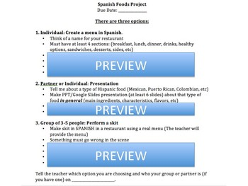 Hispanic Foods project - 3 project options and rubrics!