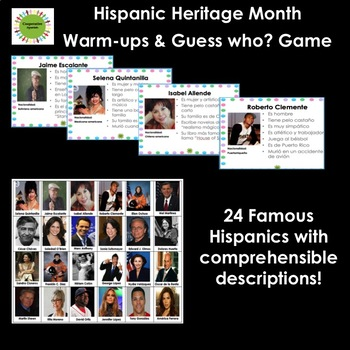 Hispanic Heritage Month Guess Who Game with Adjectives