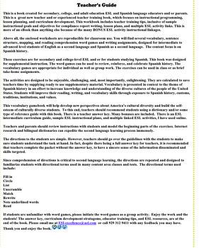 Hispanic Heritage  Intermediate/Advanced Level Vocabulary Games