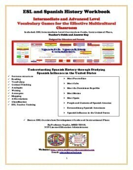 Spanish History  Intermediate/Advanced Level Vocabulary Workbook