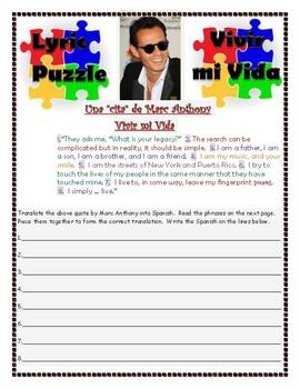 Hispanic Heritage Lyric Puzzle for listening Marc Anthony