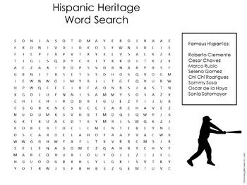 Hispanic Heritage Month Activity | Hispanic Heritage Word Search