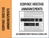 Hispanic Heritage Month Announcements