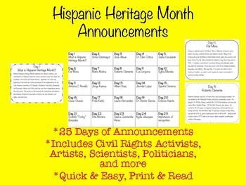 Hispanic Heritage Month Announcements