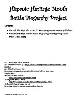Hispanic Heritage Month Bottle Biography Project