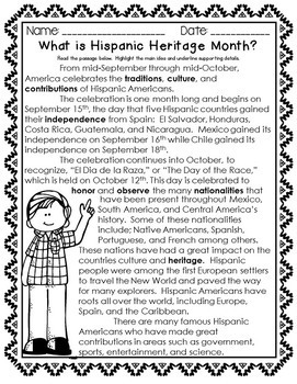 Hispanic Heritage Month - Celebrate Diversity!  Close Readings and Activities