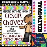 Hispanic Heritage Month - Cesar Chavez - Worksheets and Readings (Bilingual)