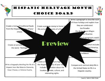 Hispanic Heritage Month Choice Board Activities Menu Project Rubric