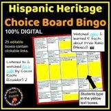 Hispanic Heritage Month DIGITAL Choice Board Bingo