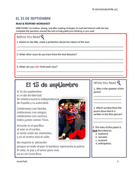 Hispanic Heritage Month: El 15 de septiembre Reading Comprehension Activity Pack