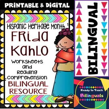 Hispanic Heritage Month - Frida Kahlo - Worksheets and Readings (Bilingual)