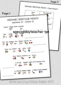 Hispanic Heritage Month Holiday Page Companion Worksheet