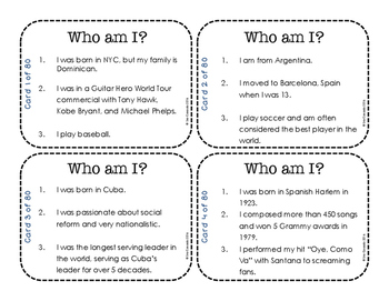 Hispanic Heritage Month: Leader Task Cards and Game (English Version)