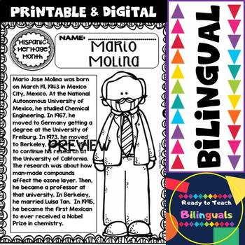 Hispanic Heritage Month- Mario Molina - Worksheets and Readings - Dual