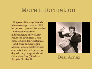 Hispanic Heritage Month Music Presentation (21 Slides) with WS and Answer Key.