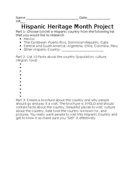 Hispanic Heritage Month Project