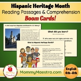 Hispanic Heritage Month Reading Comprehension Boom Cards
