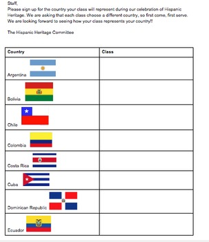 Hispanic Heritage Month Sign Up Sheet for Classrooms