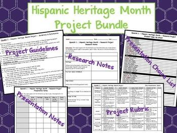 Hispanic Heritage Month Spanish Class Presentation Project Bundle