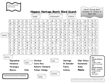 Hispanic Heritage Month Word Search