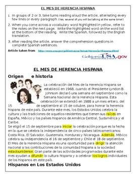 Hispanic Heritage Month reading
