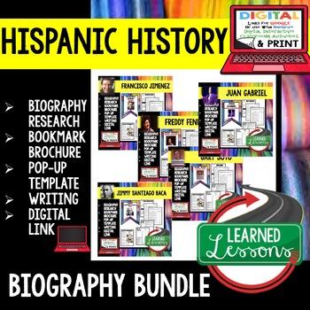 Hispanic History Biography Research, Bookmark Brochure, Pop-Up, Writing BUNDLE