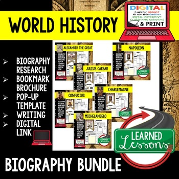 World History Biography Research, Bookmark Brochure, Pop-Up, Writing BUNDLE