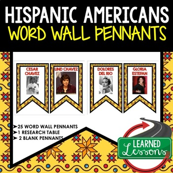 Hispanic History Word Wall Pennants (Hispanic Heritage Month)