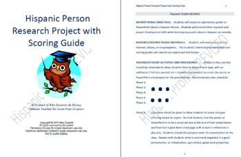 Hispanic Person Research Project with Scoring Guide
