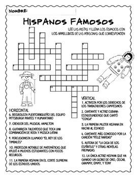 Hispanic Heritage Month Crossword Puzzle (in Spanish!)