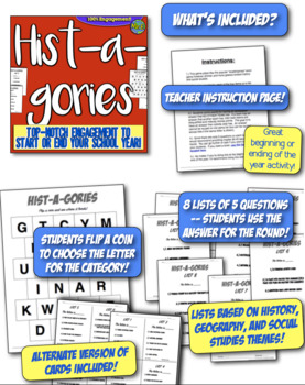 First day of school Hist-A-Gories game! Back to school game for Social Studies!