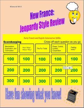Hist: New France Jeopardy Based Review Game - France vs. Britain