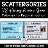US History Review Game: Scattergories EDITABLE Distance Le
