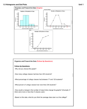 Histograms and Dot Plots (Lesson Plan with Homework)