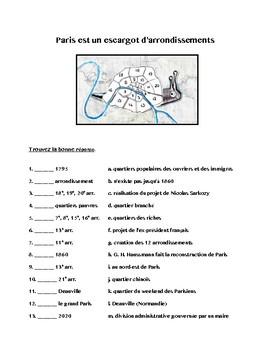 Histoires des arrondissements parisiens, Paris, video worksheet
