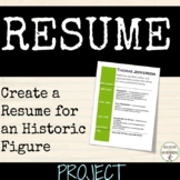 Resume Project for  Character or Historic Figure EDITABLE RUBRIC
