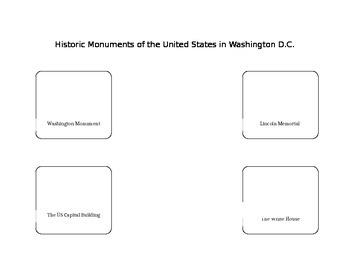 Historic Monuments in Washington DC, USA Printable!