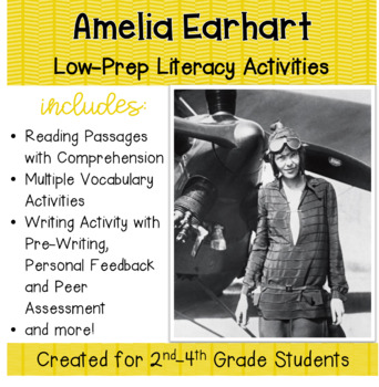 Amelia Earhart: No Prep Lessons for Grades 2-4 with Litera