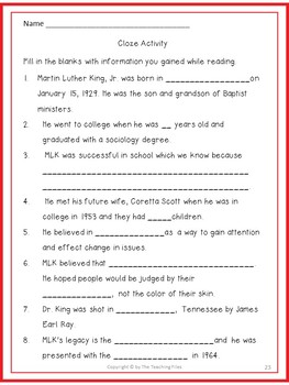 Martin Luther King, Jr: No-Prep Lessons with Literacy Activites for Grades 2-4