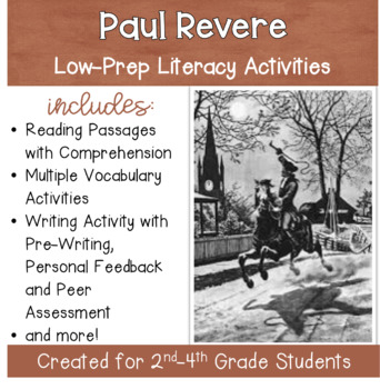 Paul Revere - Social Studies Packet for Grades 2-4 with Literacy Activities
