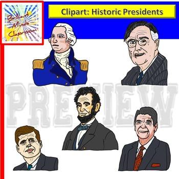 U.S History Presidents Clipart -Washington -Lincoln Roosevelt -Kennedy - Reagan