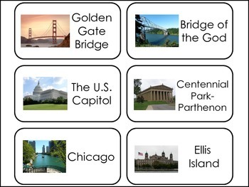Historic U.S. Landmarks Picture Word Flash Cards.