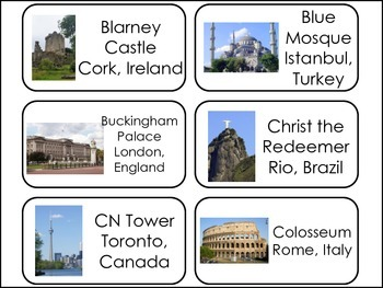 Historic World Landmarks Picture Word Flash Cards.