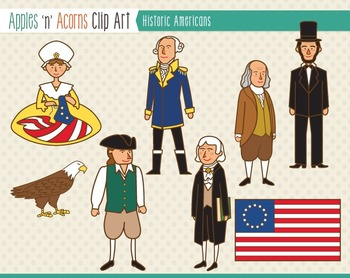 Historical American People Clip Art - color and outlines