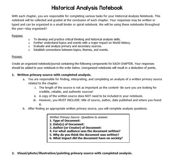 Historical Analysis Notebook- Practicing Historical Thinking Skills