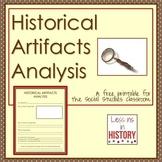 Historical Artifacts Analysis Printable - Graphic Organize