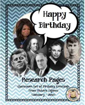 Historical Characters Birthday Buddies Card and Research Project 1: January-June