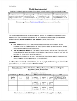 Historical Context Mini-lesson – For ELA, History, or Humanities Classes