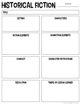Historical Fiction Anchor Chart & Interactive Notebook Kit