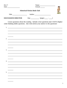 Historical Fiction Book Club Job Packet